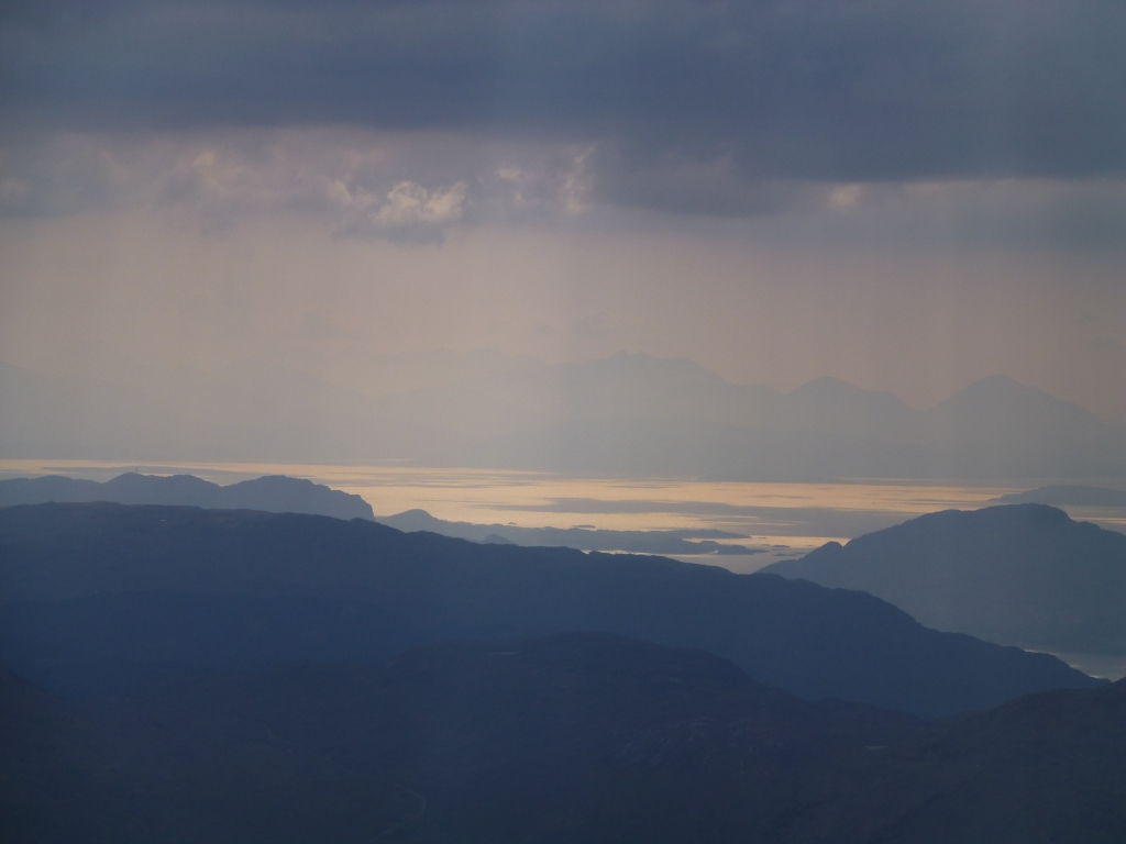 Evening view to Skye and the west from the top of Lurg Mhor